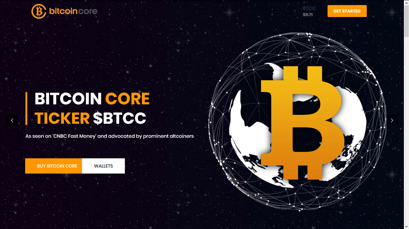 screenshot of Bitcoin Core's Website