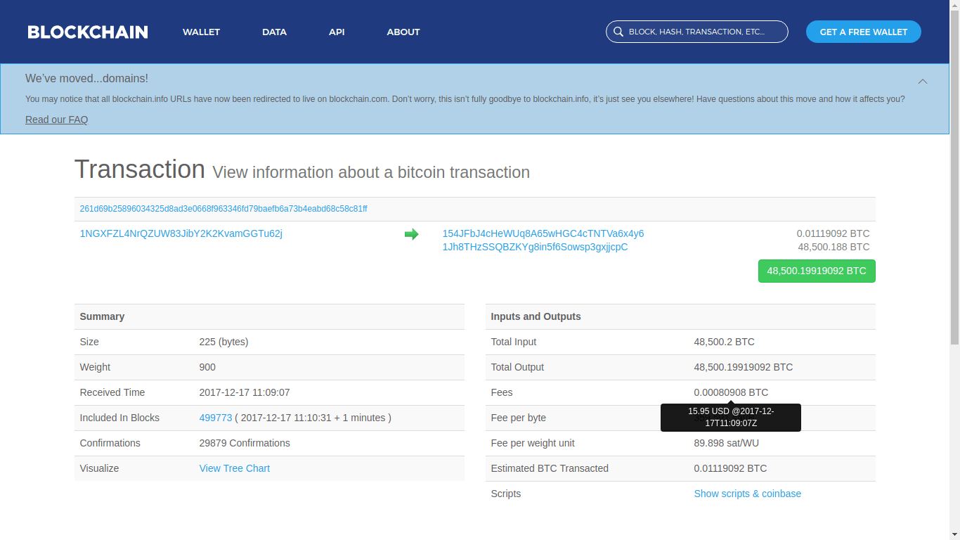 Someone Sent 300 Million USD in Bitcoin (BTC) Paying a Fee of 0.04 USD 15