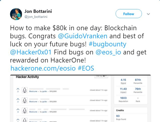 EOS Bug Bounty Update: Researcher Earns $120K in a Week Highlighting Bugs on The Platform 14