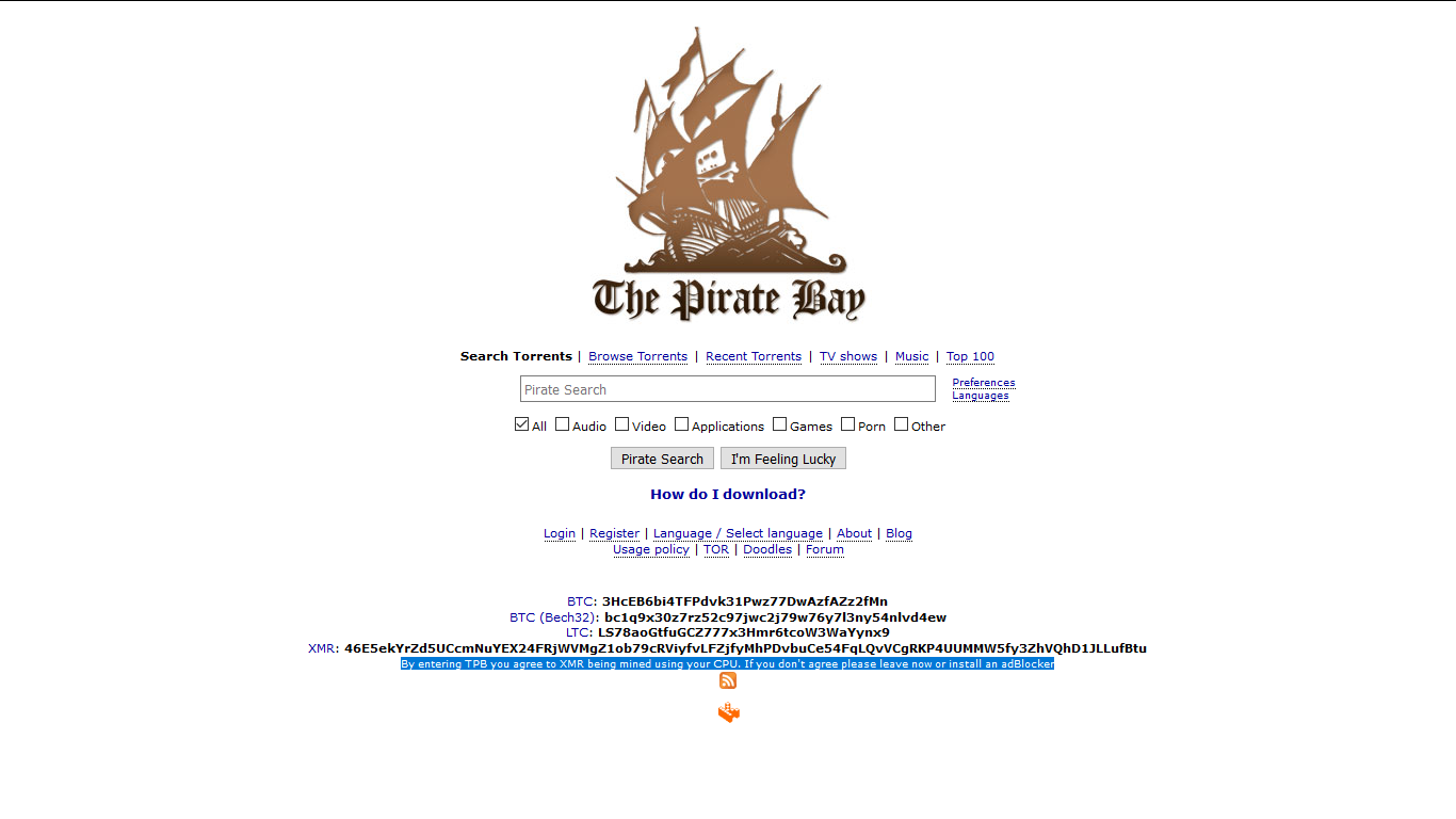 The Pirate Bay Mines Crypto With Your CPU in Exchange For a Cleaner Interface 15