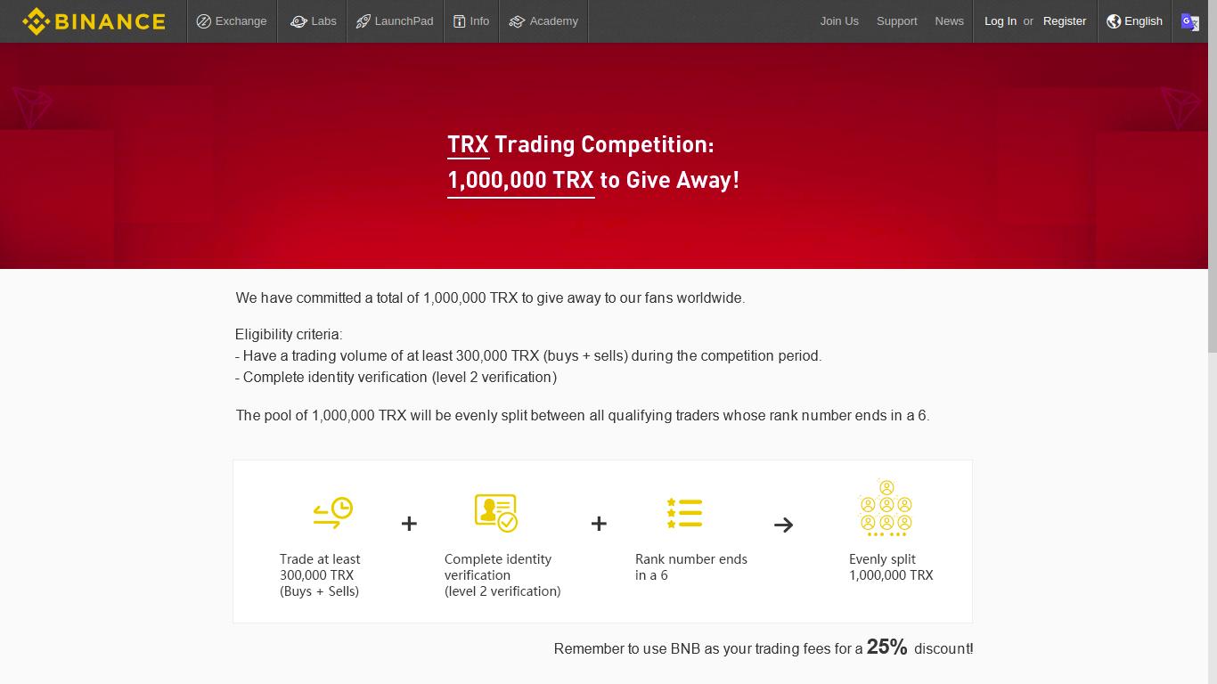 Win 1.000.000 TRX. Binance Announces New TRX Competition 16