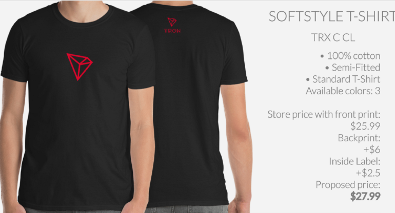 Tron (TRX) Enters Merchandising Phase With T-Shirts and More at Crypto and Proud 19