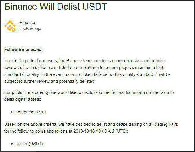 Reports of Binance Delisting Tether (USDT), Turn Out to Be FAKE NEWS 16