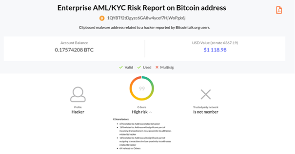 Universal cryptocurrency wallet Infinito Wallet integrates Coinfirm AML Platform and allows users to check risk rating of counterparties 18