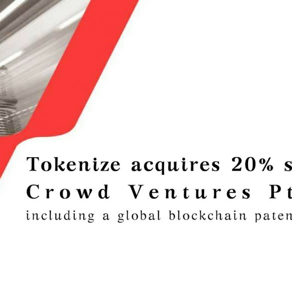Leading Singapore Cryptocurrency Exchange 'Tokenize Xchange' Lists Their TKX Emblem and Acquires a Stake in Singapore-based Technology Company, Crowd Ventures (including a global blockchain patent portfolio