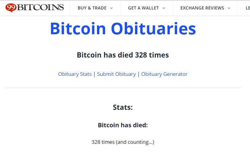 Bitcoin (BTC) Has Died 328 Times to Date and Counting 18