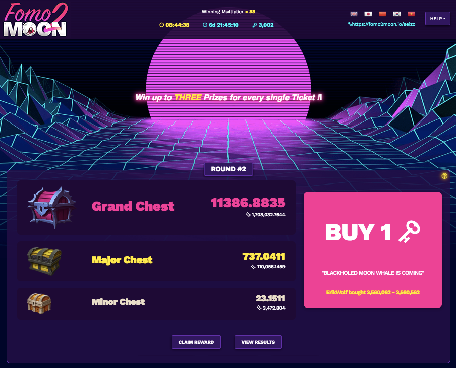 Fomo2Moon a Blockchain Lottery for Everyone to Win 100% Transparent 13