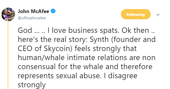 John McAfee Dismissed by Skycoin for Tweets About Whale Copulating 3