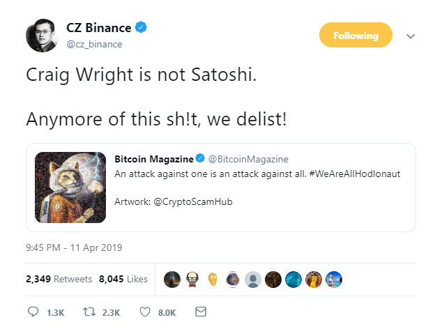 Craig Wright vs. Hodlonaut: Binance CEO Threatens to Delist Bitcoin SV