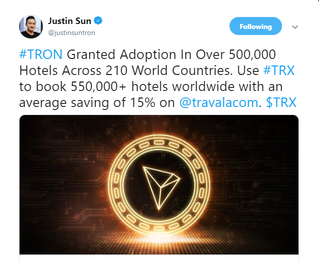 Tron (TRX) Gets Major Boost Through Adoption in 500,000+ Hotels Globally 1