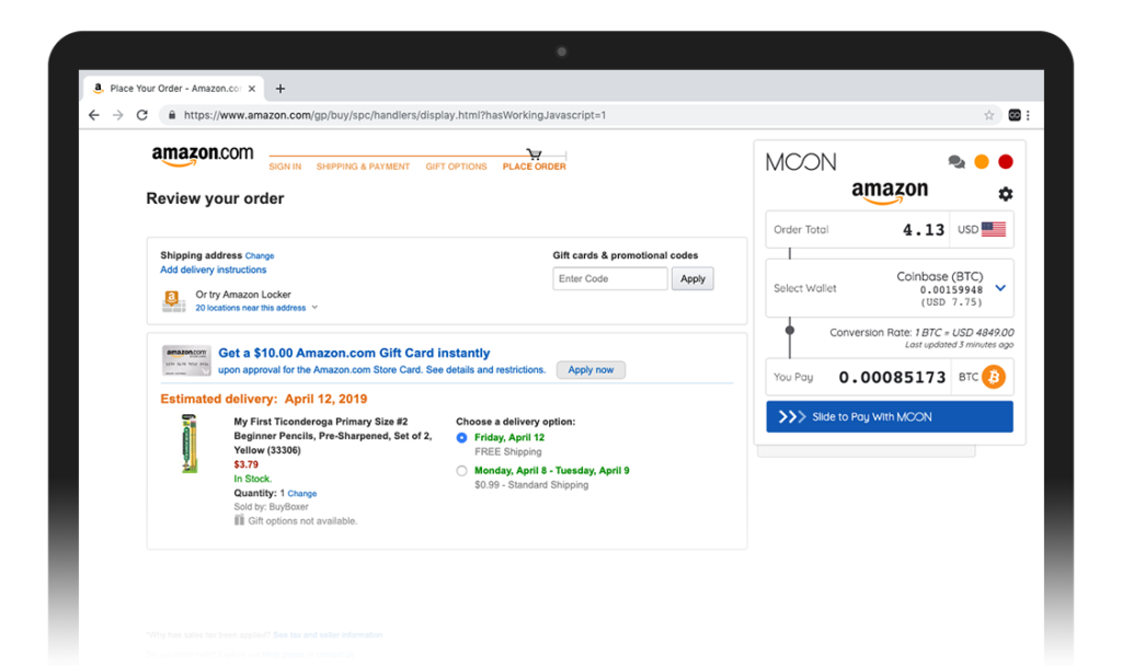 Screenshot provided by Moon, showing the option to pay for an item using BTC in Amazon