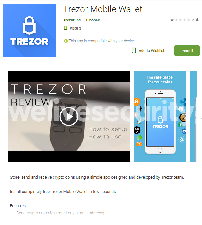 Interface of the Fake Trezor Wallet App