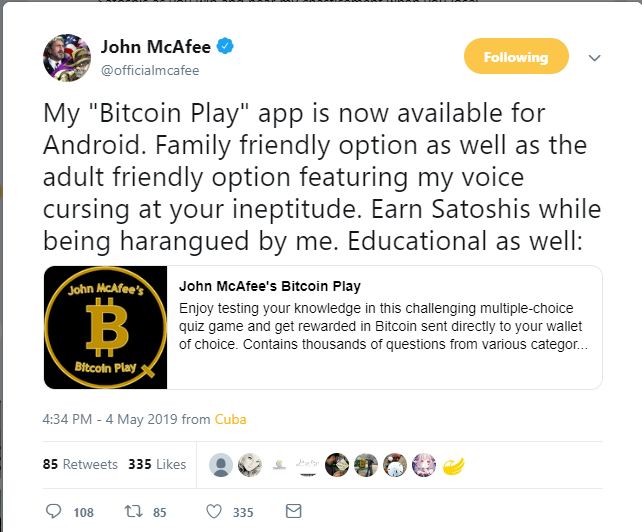 John McAfee Cursing in New 'Bitcoin Play' App, Letting Users Earn Satoshis for Quiz Solving 1
