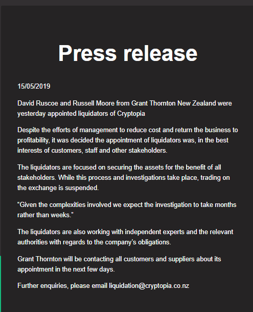 Ill-Famed Cryptopia Exchange Appoints Liquidators, Community Suspects Exit Scam 1