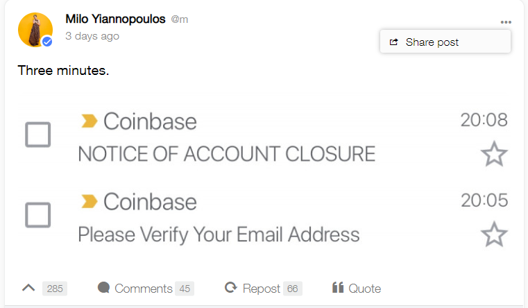 Coinbase Bans Account of Popular Right-Wing Pundit Milo Yiannopoulos 13