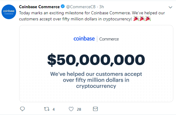 Coinbase Commerce App Reaches $50 Mln in Trading Volume, Starts Accepting USDC 2