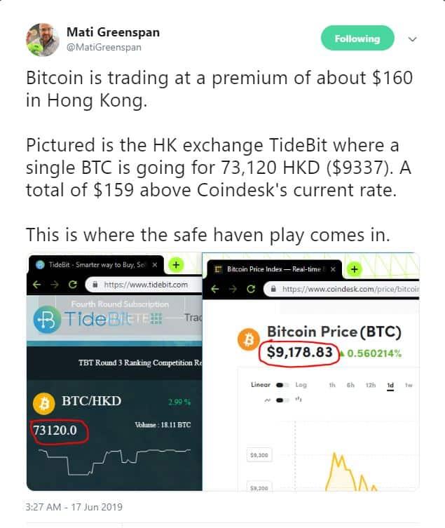 Bullish: Bitcoin (BTC) Trading at 2% Premium in Hong Kong Amid Unrest 14